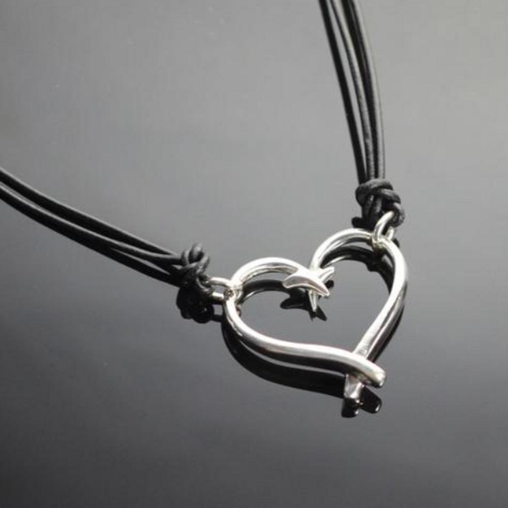 Fish Hook Sterling Silver Heart Pendant Necklace | Anisa Stewart Jewelry | ASJp1047s
