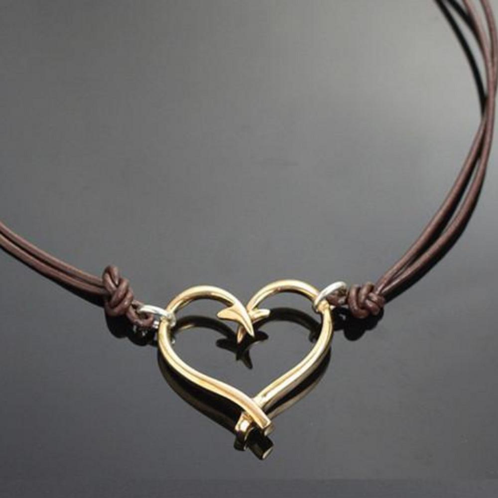 Bronze Fish Hook Heart Pendant Necklace | Anisa Stewart Jewelry | ASJbrp1047s