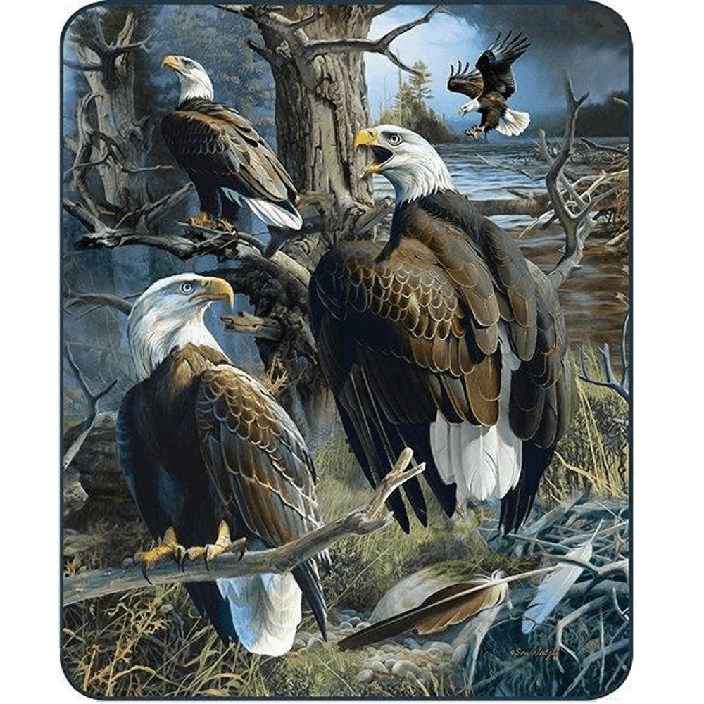 Eagle Collage Faux-Mink Blanket   DB5325-2