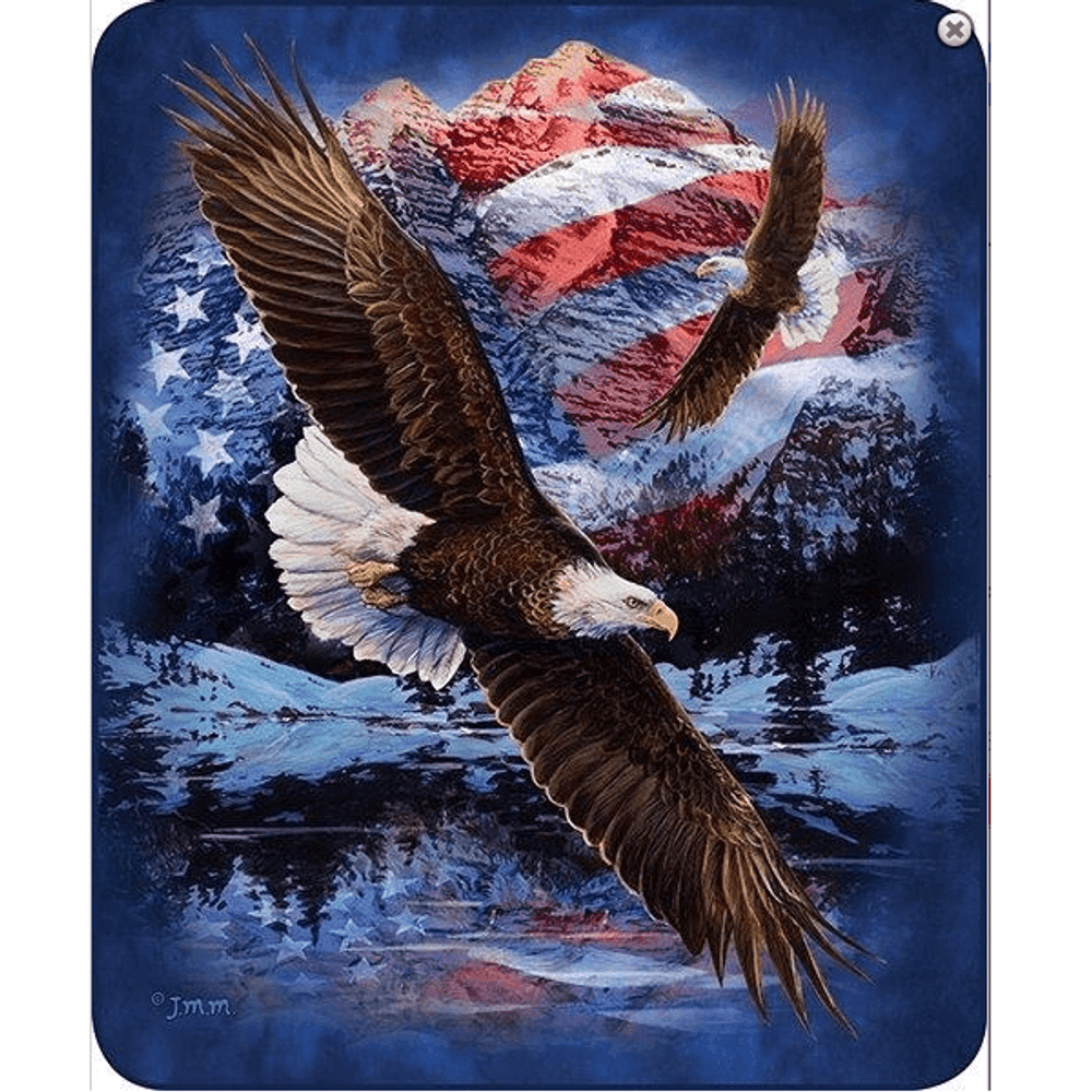 Eagle Faux-Mink Blanket | Snow Eagle Flag | DB5324-2
