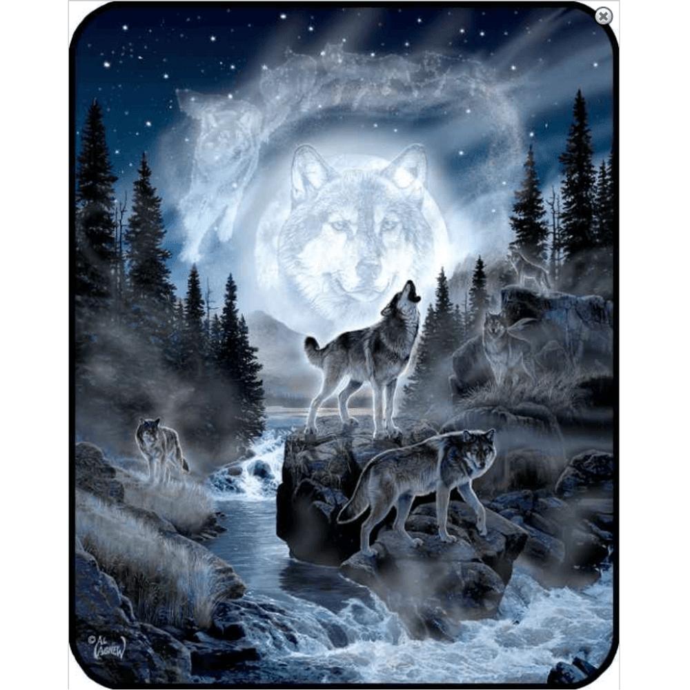 Wolf Moon Faux-Mink Blanket | DB5255-2