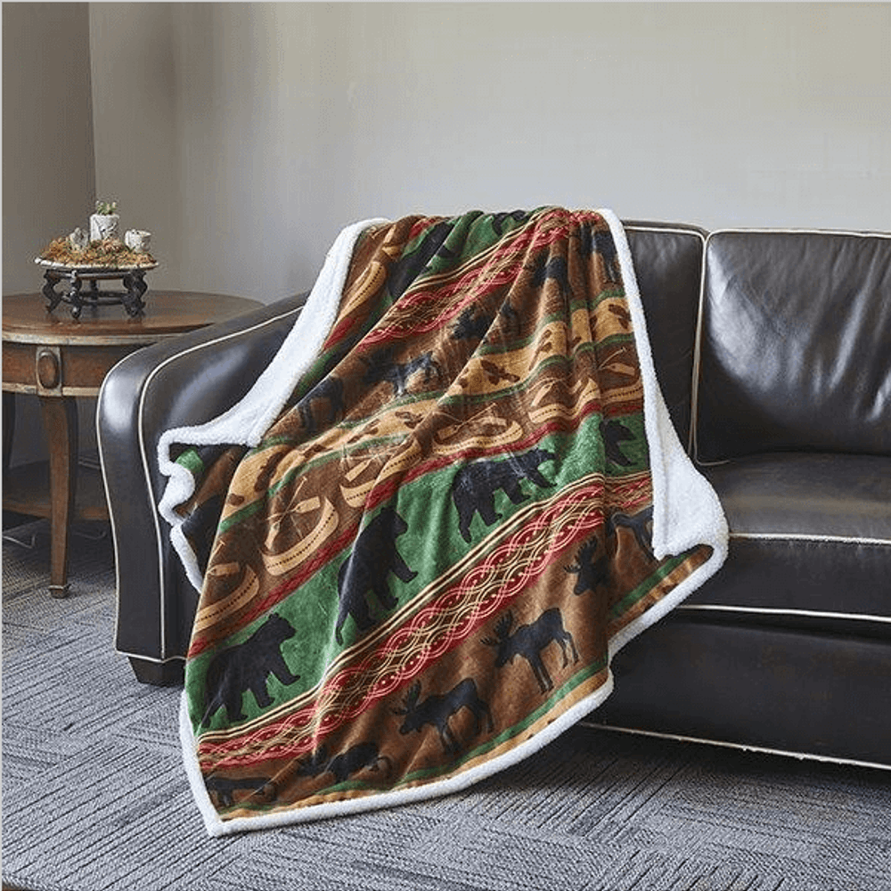 Bear and Moose Flannel Sherpa Throw Blanket | Lodge Preserve | DTR681