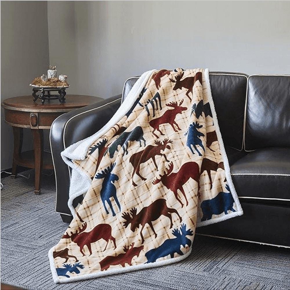 Moose Flannel Sherpa Throw Blanket | DTR685
