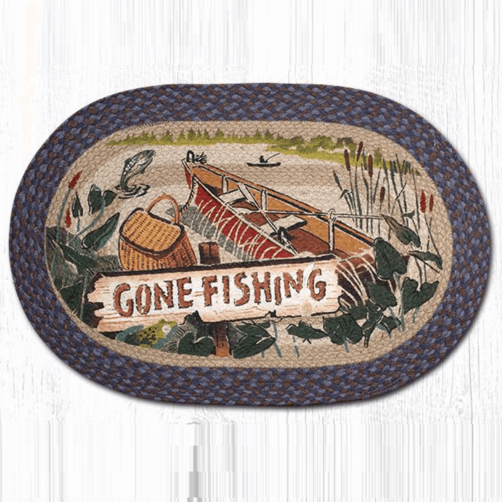 Gone Fishing Oval Patch Braided Rug | Capitol Earth Rugs | OP-355GF