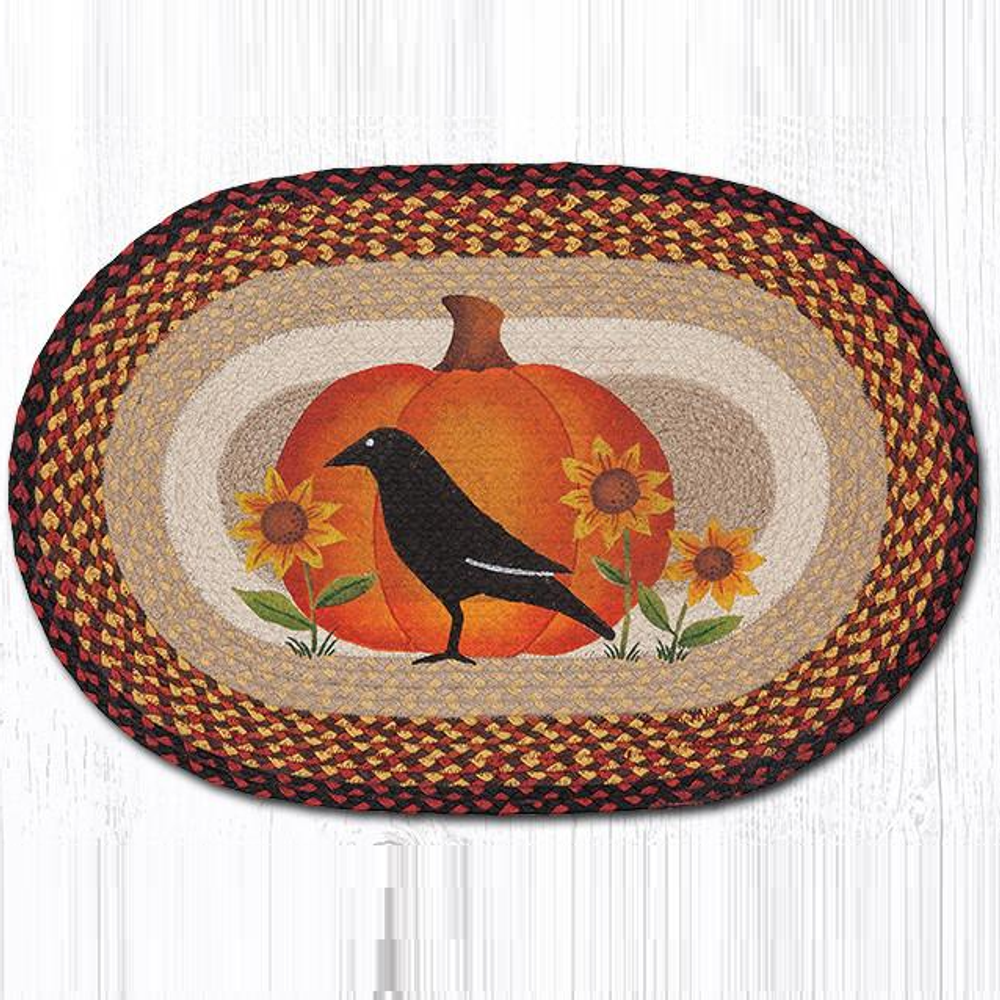 Crow and Pumpkin Oval Patch Braided Rug | Capitol Earth Rugs | OP-440CP