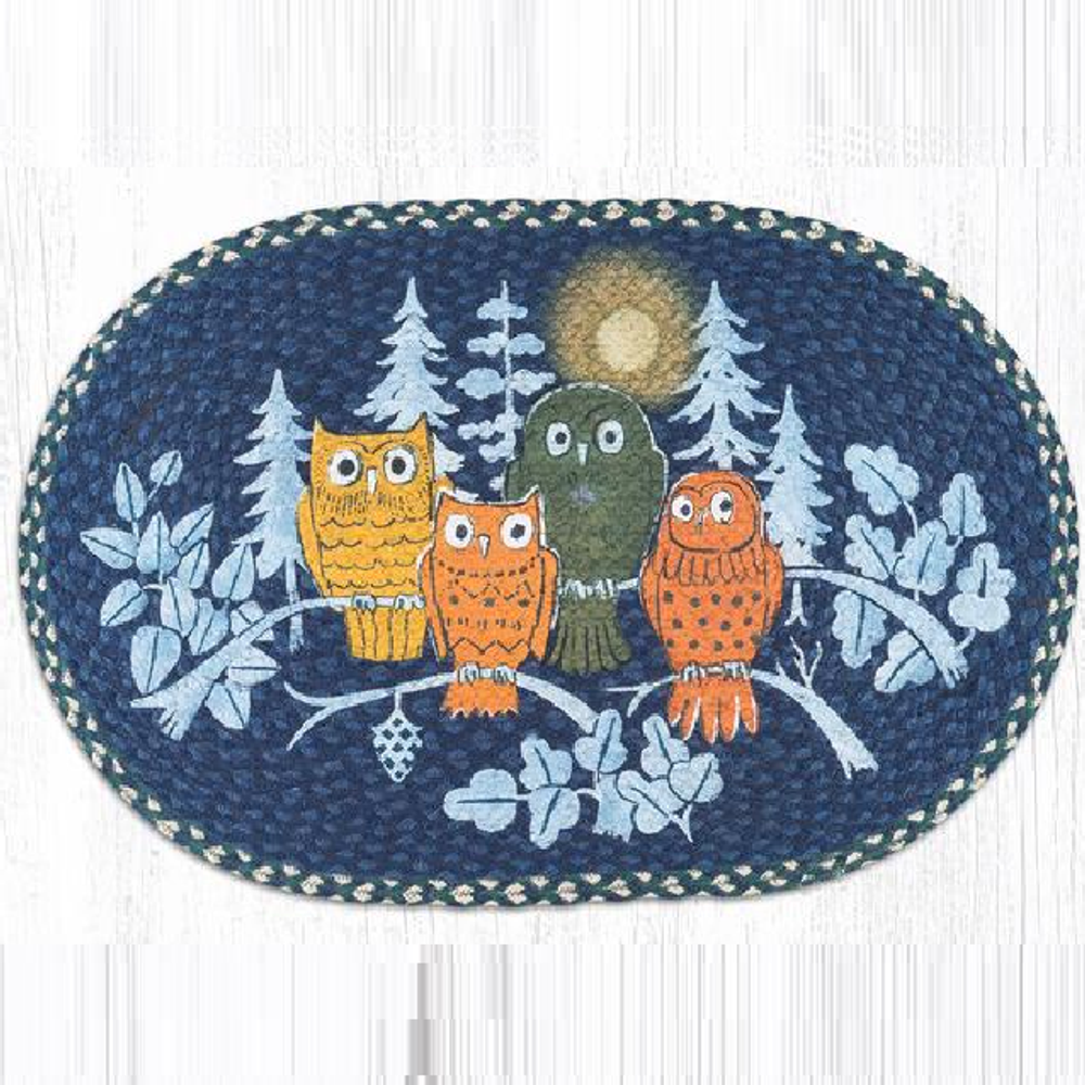 Midnight Owl Oval Patch Braided Rug   Capitol Earth Rugs   OP-582MO
