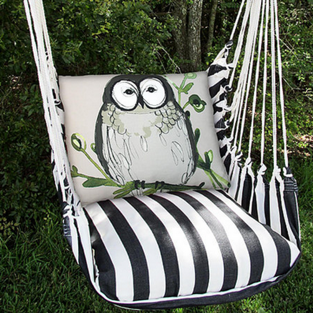 "Owl Hammock Chair Swing ""True Black"" 