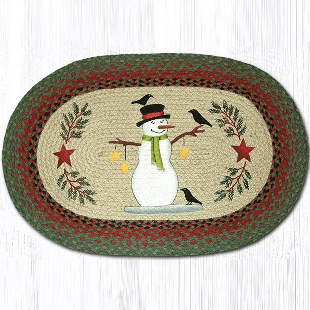 Snowman and Crows Oval Patch Braided Rug | Capitol Earth Rugs | OP-025SC