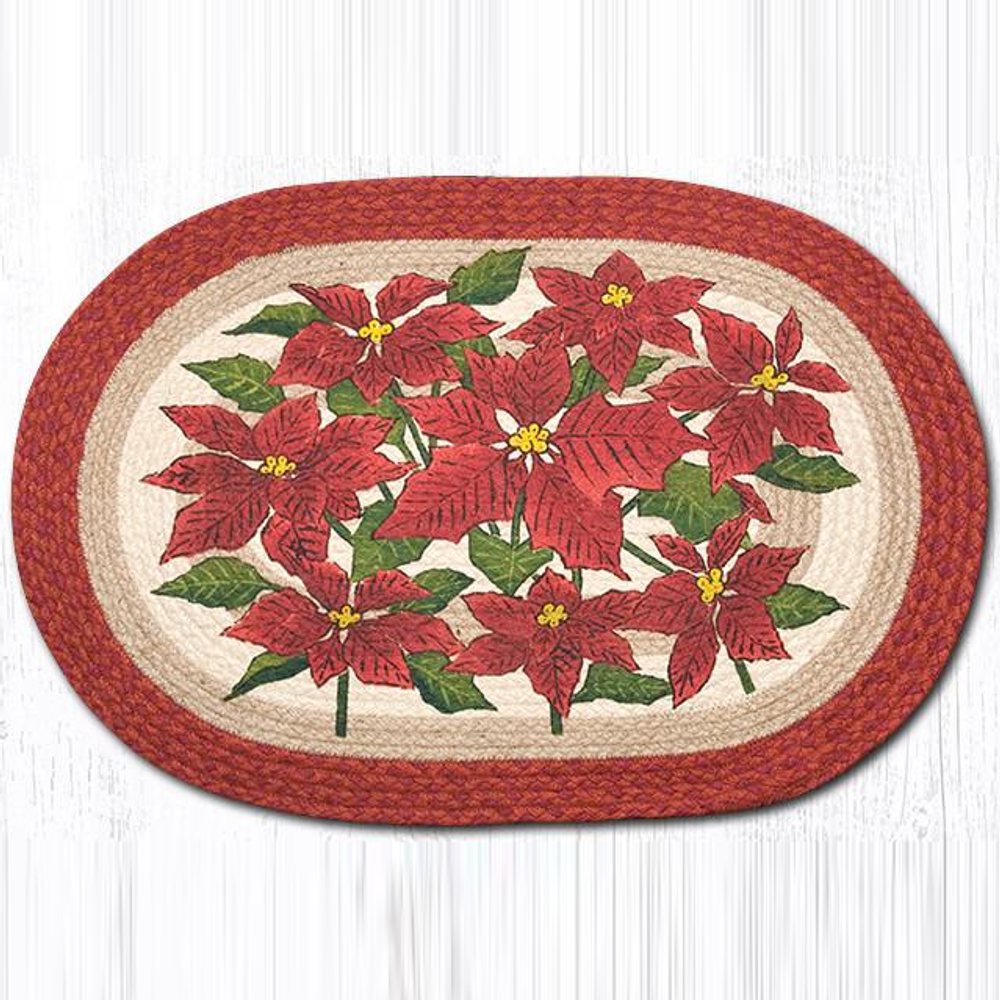 Poinsettia Oval Patch Braided Rug | Capitol Earth Rugs | OP-460P