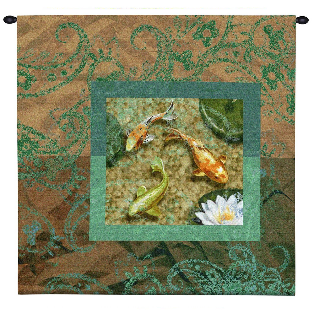 """Koi Tapestry Wall Hanging """"Flirtation II"""" 