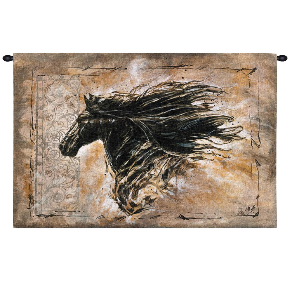 """Horse Tapestry Wall Hanging """"Black Beauty"""" 