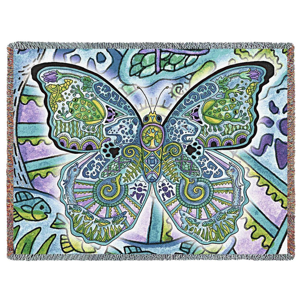 Blue Morpho Butterfly Tapestry Throw Blanket   Pure Country   pc8044T