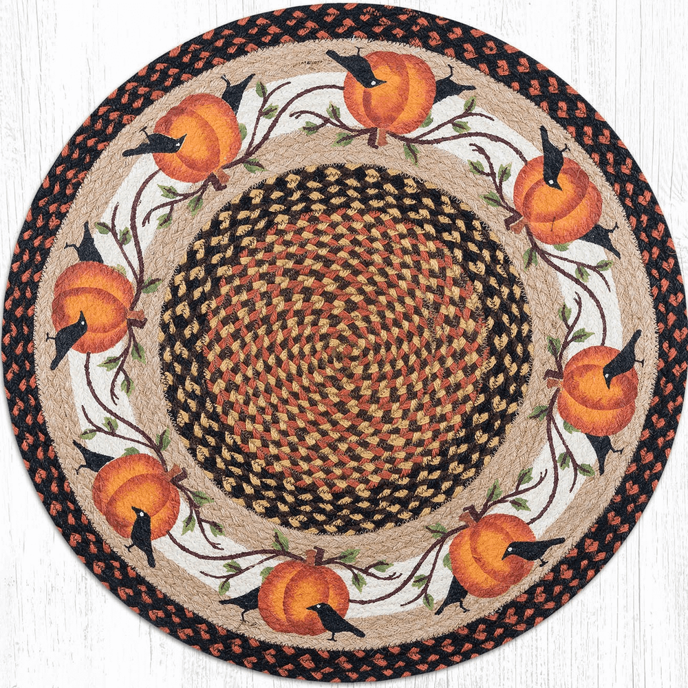 Pumpkins and Crows Round Patch Braided Rug   Capitol Earth Rugs   CERRP-222PC