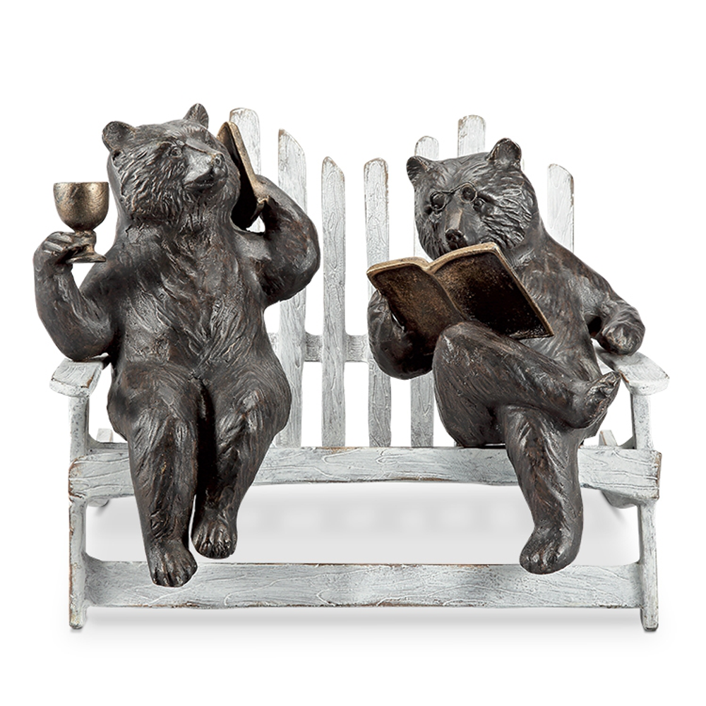 Hipster Bears on Bench Garden Sculpture | SPI Home | 34792