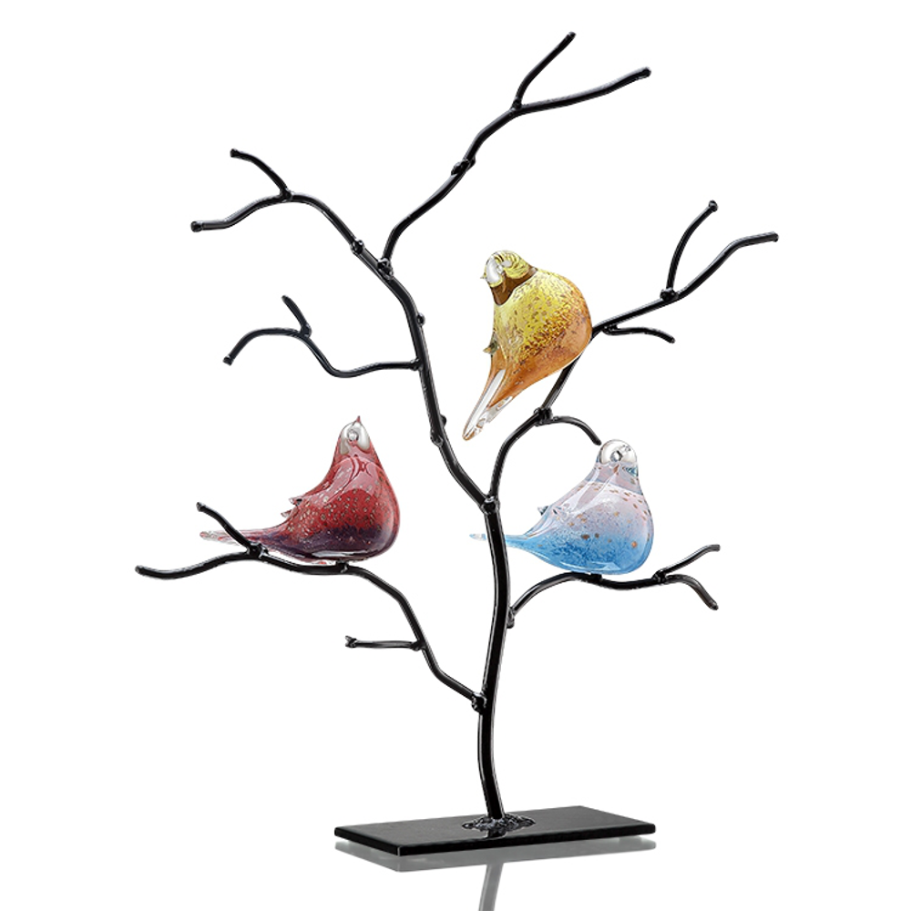 Art Glass Bird Trio on Tree   83018   SPI Home