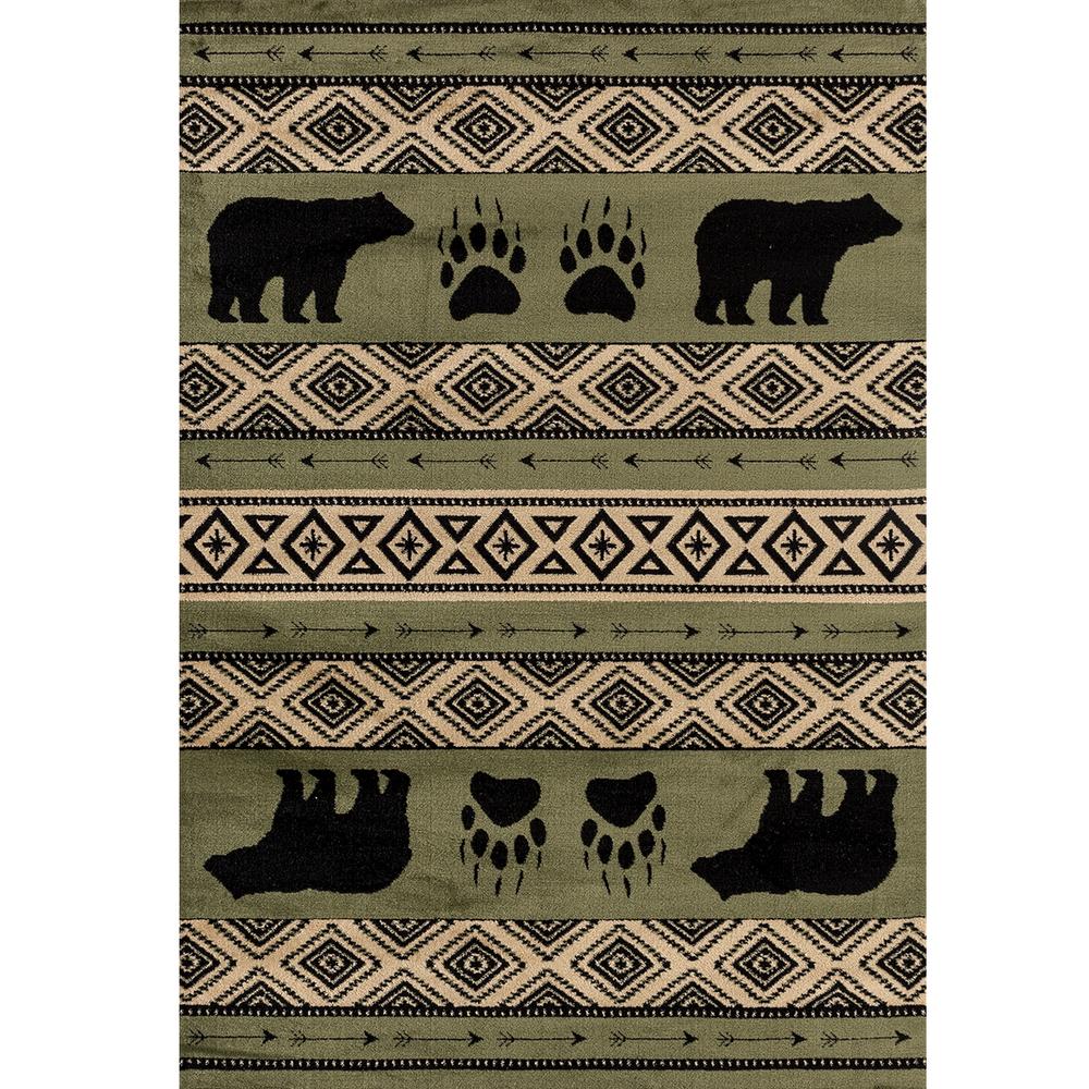 "Bear Print Area Rug Green ""Woodside""   United Weavers   712-30845"