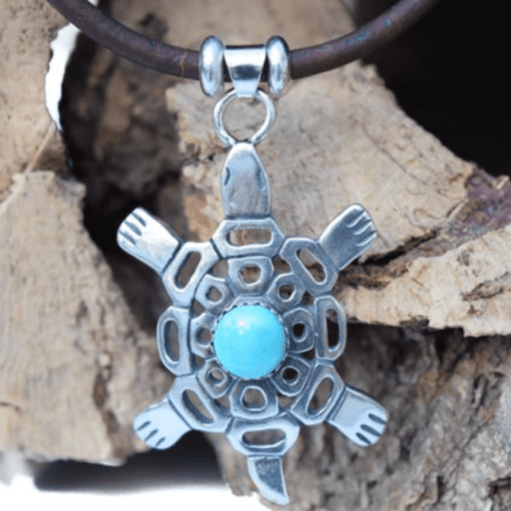 Turtle Turquoise, Sterling Silver and Cork Necklace   Nature Jewelry   CTD-N74-1