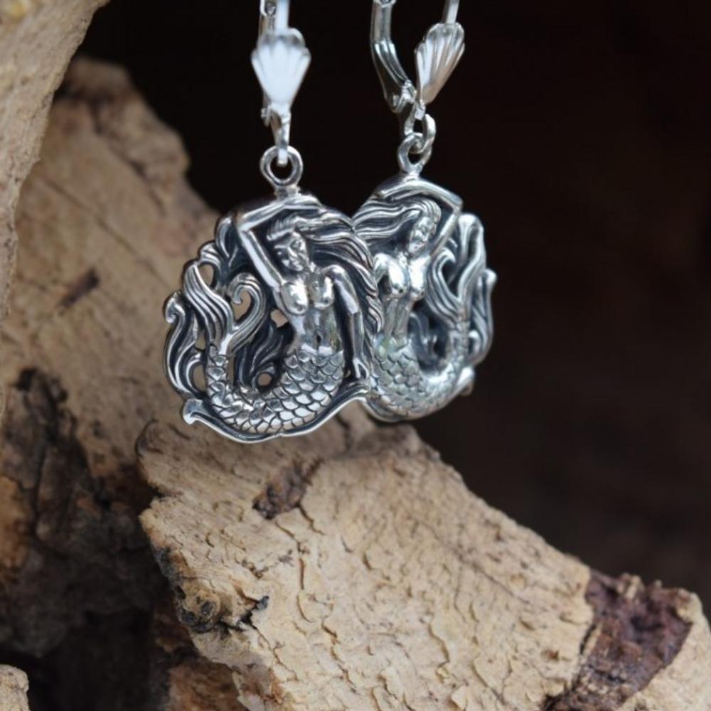 Mermaid Sterling Silver Earrings   Nature Jewelry   CTD-E15