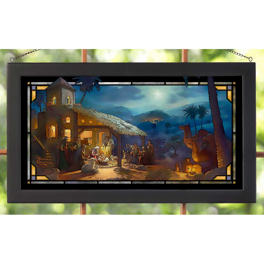 Nativity Scene Stained Glass Art | Thomas Kinkade | Wild Wings | 5386600404