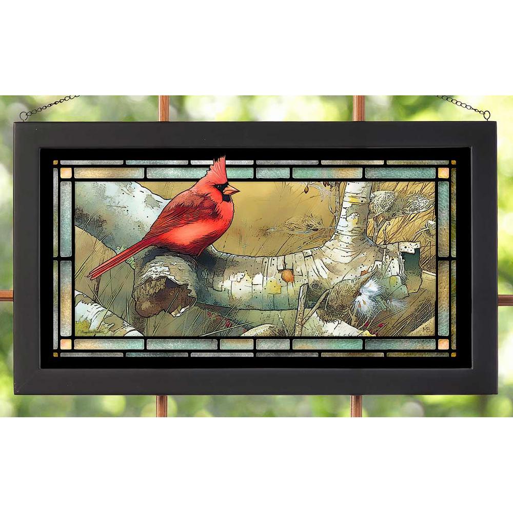Cardinal on Fallen Birch Stained Glass Art | Wild Wings | 5386600412