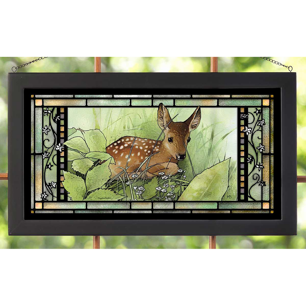 "Deer Stained Glass Art ""Hidden Fawn""   Wild Wings   5386600407"