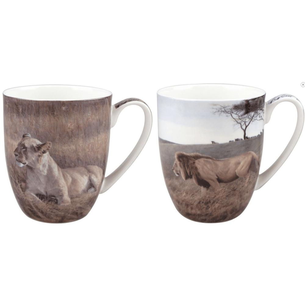 Lion Bone China Mug Set of 2 | McIntosh Trading Lion Mug | Robert Bateman Lion Mug Set -2