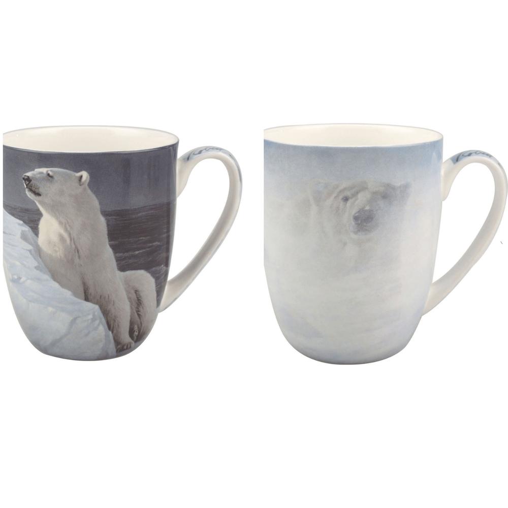 Polar Bear Bone China Mug Set of 2 | McIntosh Trading Polar Bear Mug | Robert Bateman Polar Bear Mug Set -2