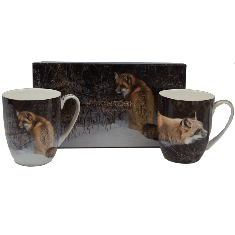 Fox Bone China Mug Set of 2 | McIntosh Trading Fox Mug | Robert Bateman Fox Mug Set