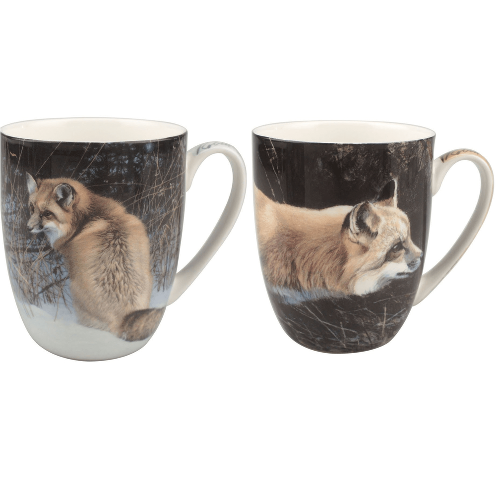 Fox Bone China Mug Set of 2 | McIntosh Trading Fox Mug | Robert Bateman Fox Mug Set -2