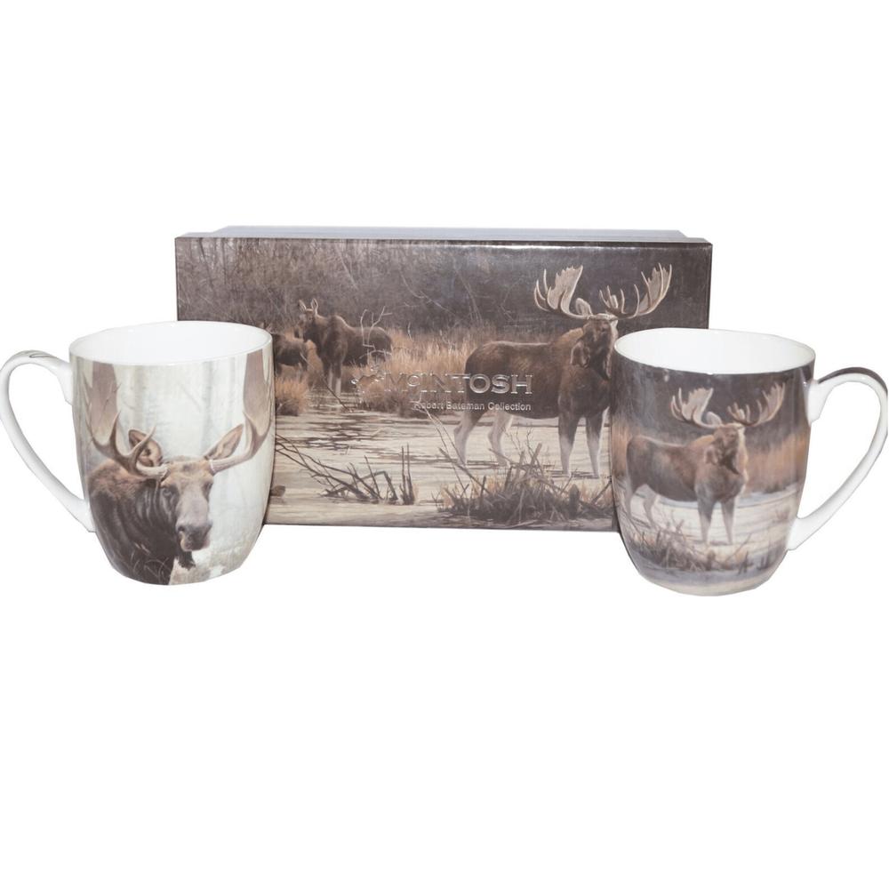 Moose Bone China Mug Set of 2 | McIntosh Trading Moose Mug | Robert Bateman Moose Mug Set