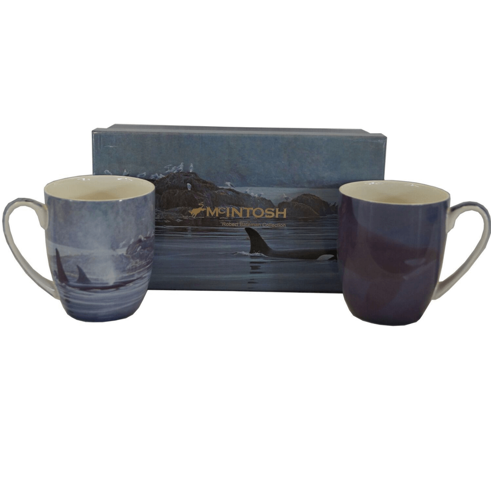 Whale Bone China Mug Set of 2 | McIntosh Trading Whale Mug | Robert Bateman Whale Mug Set