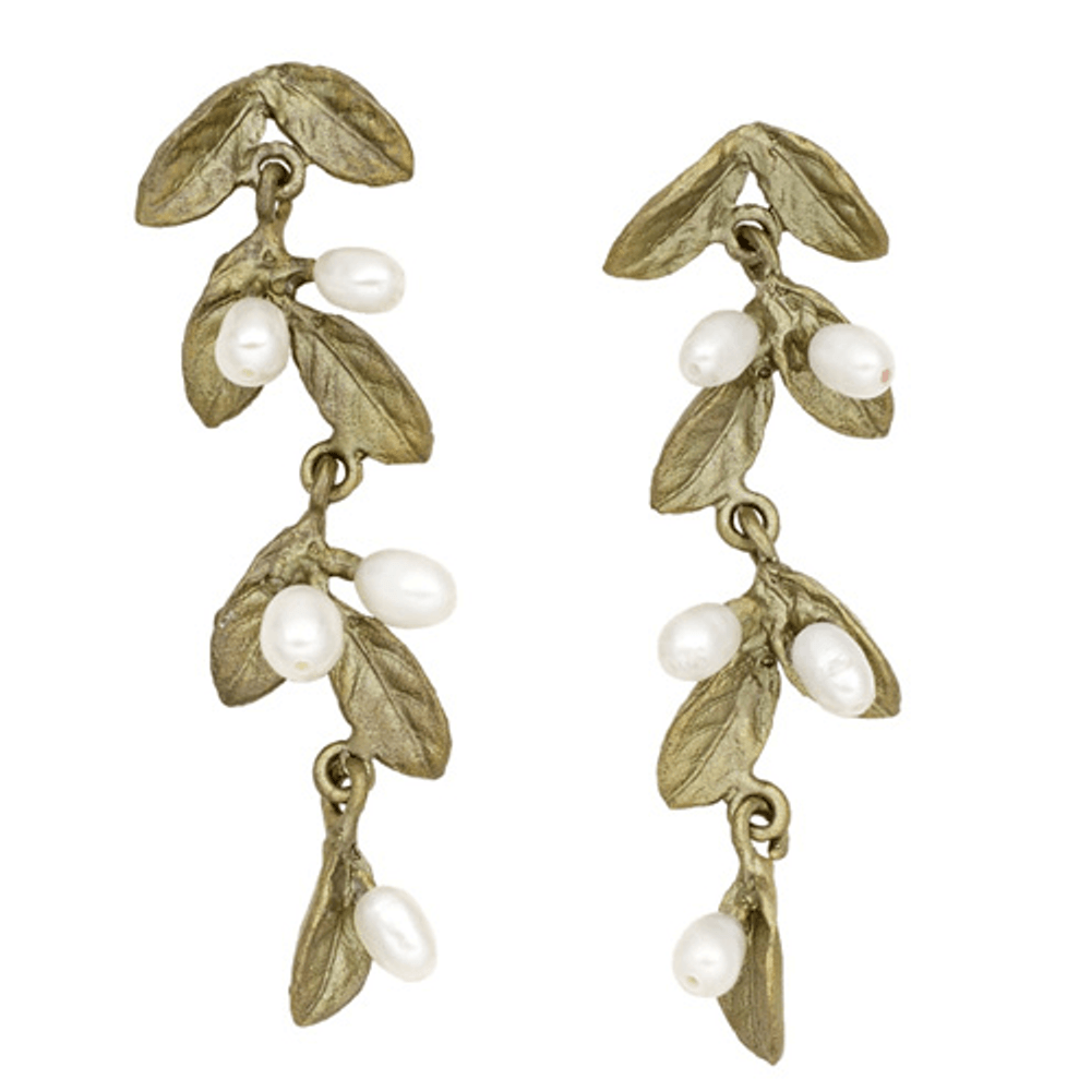 Petite Leaf Long Dangle Post Earrings  | Michael Michaud Jewelry | SS3296BZWP
