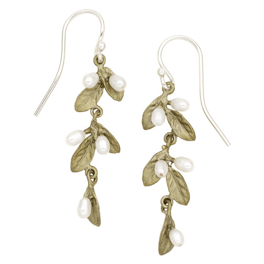Petite Leaf Drop Dangle Wire Earrings | Michael Michaud Jewelry | SS3295BZWP