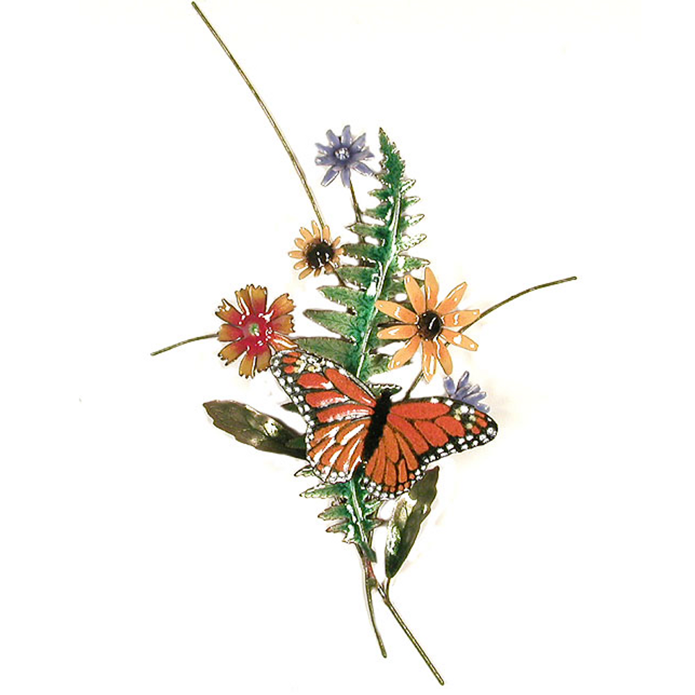 Bovano Monarch Butterfly with Black Eyed Susan and Fern Wall Art | B25