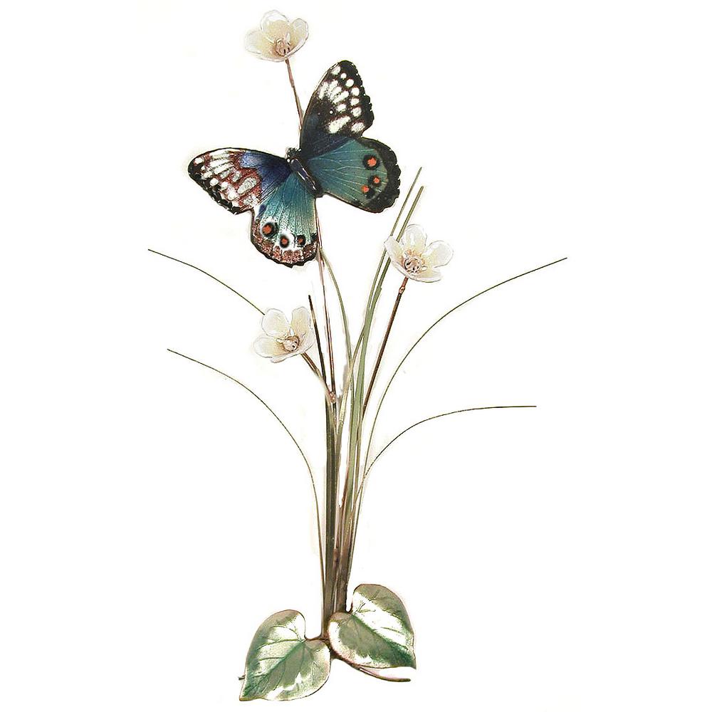 Bovano Blue Beauty Butterfly Enameled Copper Accent Wall Art | B18