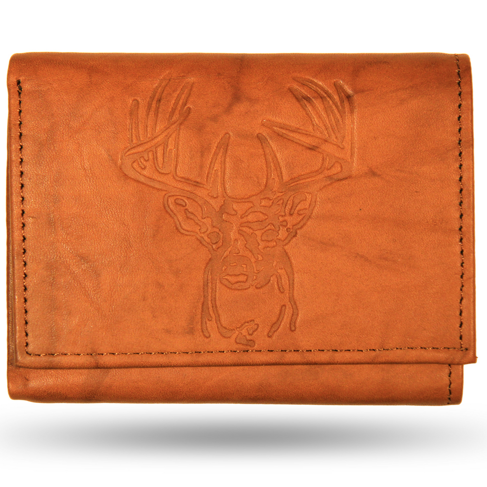 Deer Head Leather Men's Trifold Wallet