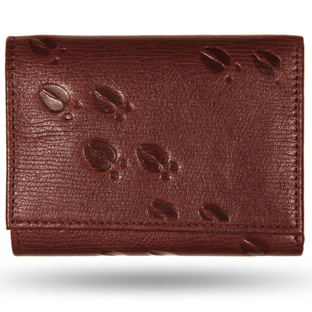 Deer Tracks Brown Leather Men's Trifold Wallet