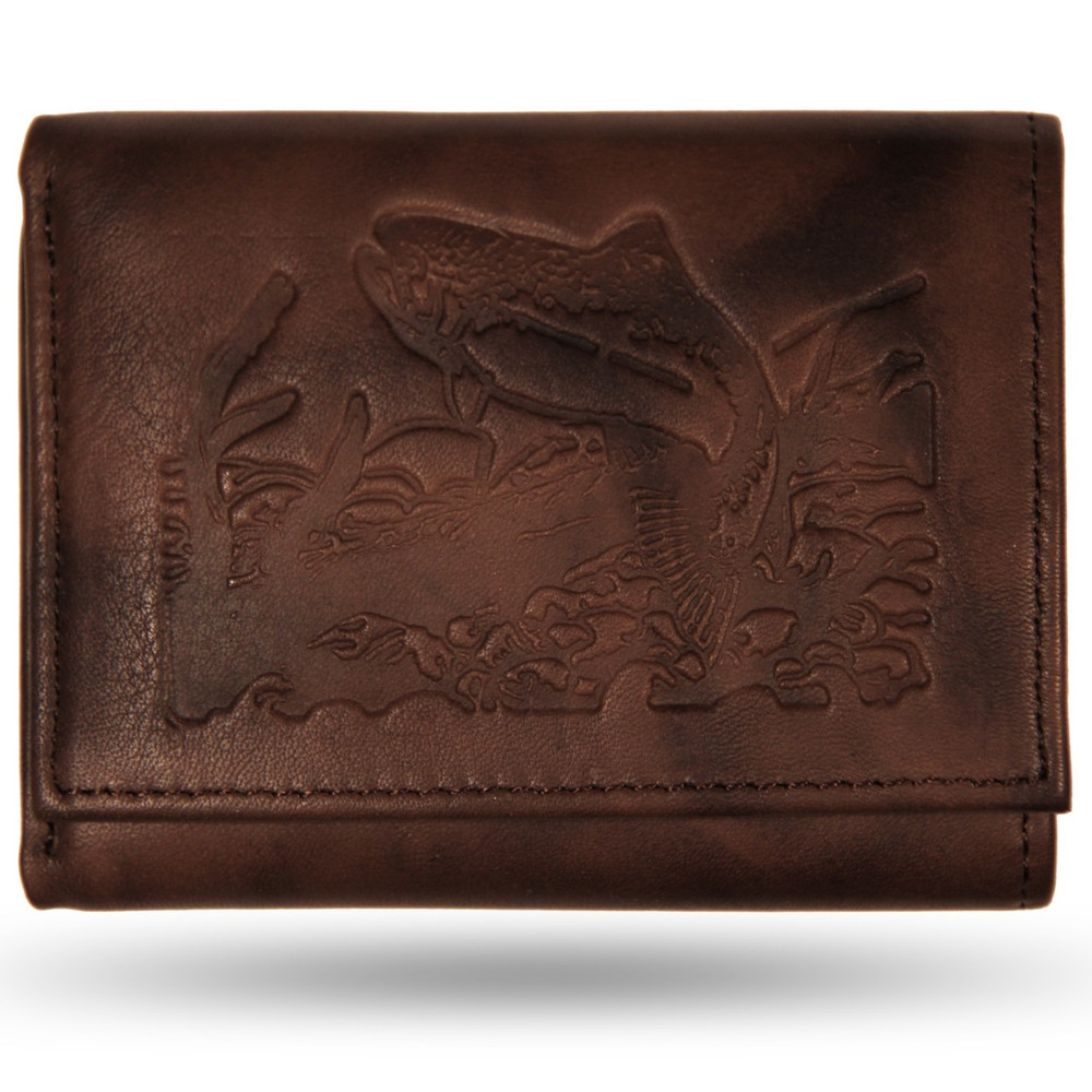 Trout Brown Leather Men's Trifold Wallet