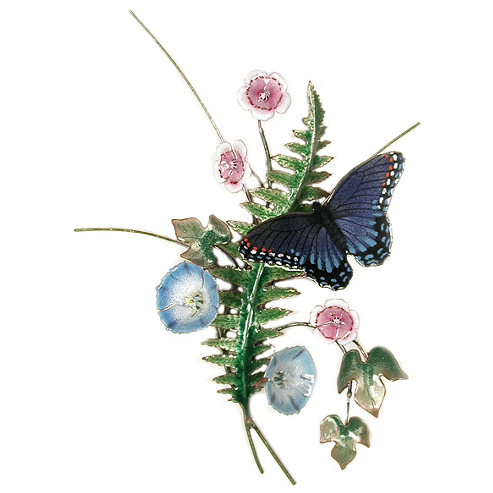 Bovano Red Spotted Butterfly Fern and Morning Glory Wall Art   B24