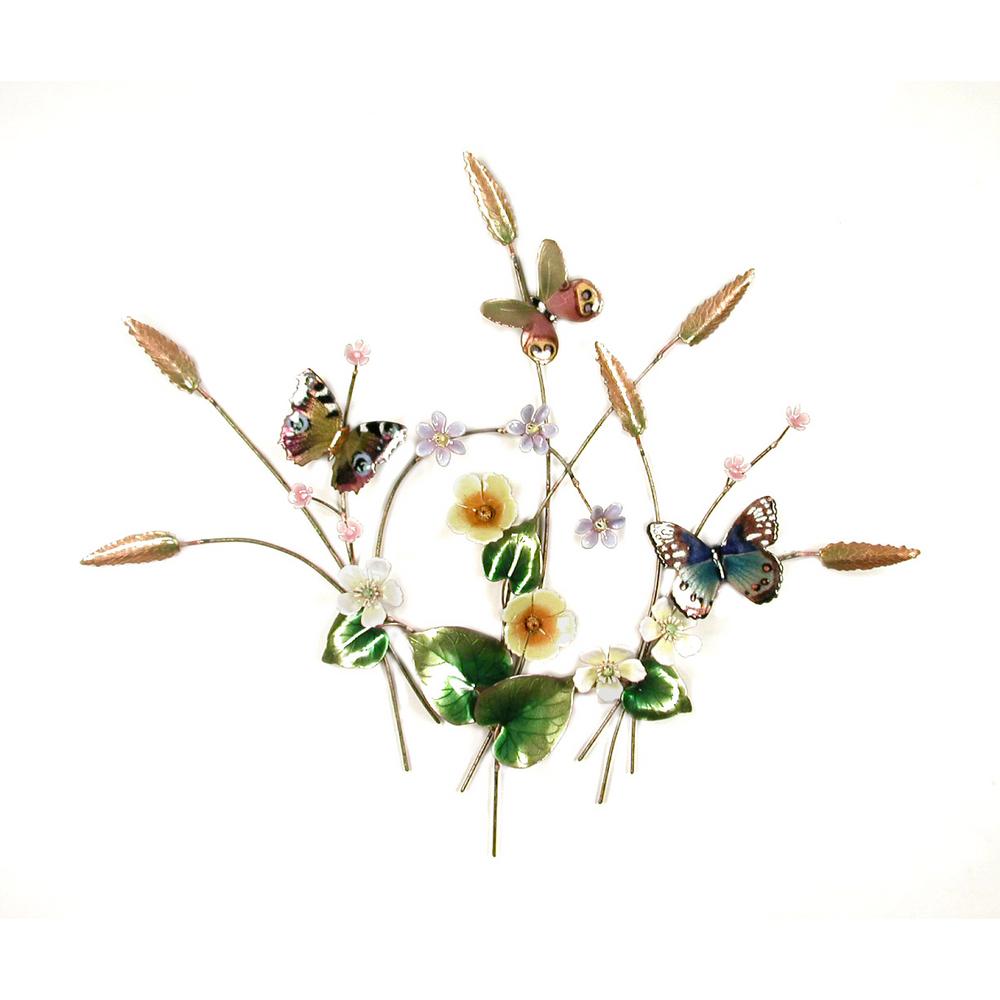 Bovano Butterflies in Flower Meadow Enameled Copper Wall Art | B57