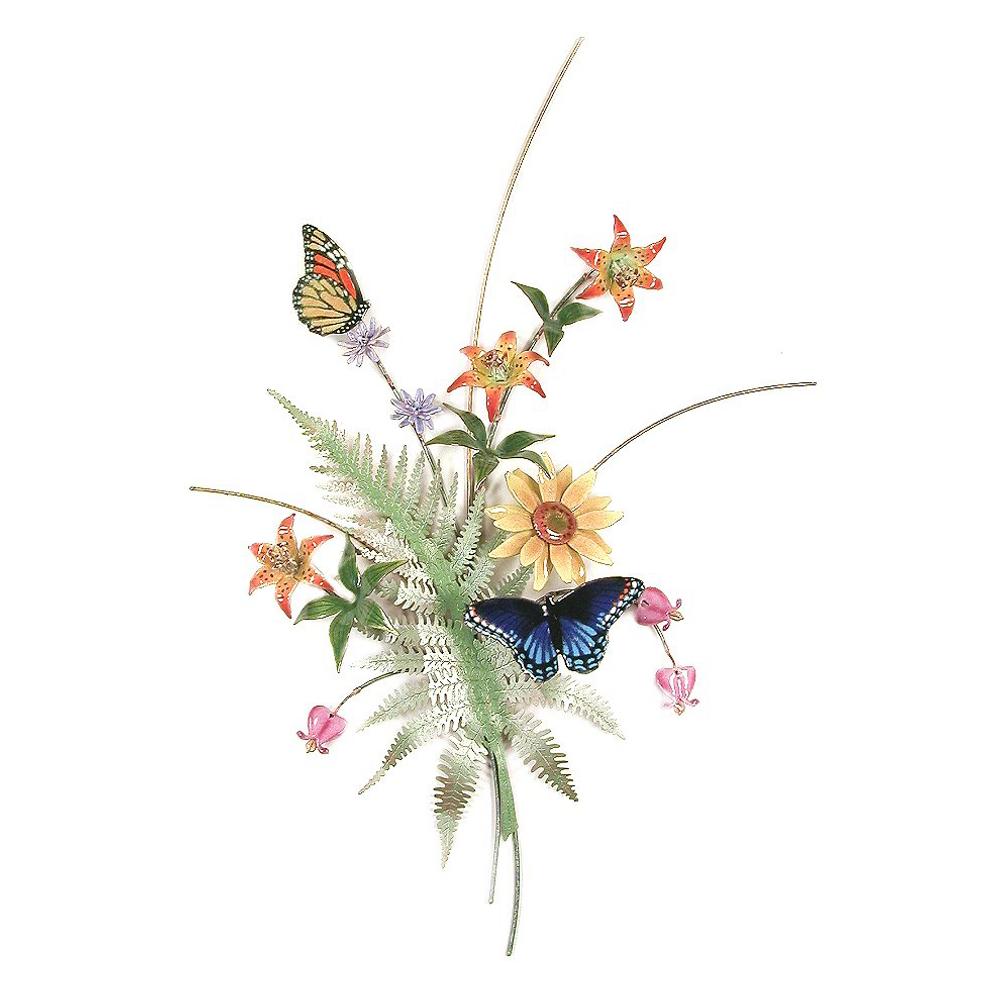 Bovano Butterflies with Fern, Turks Cap Lilies, Sunflower Wall Art | B70