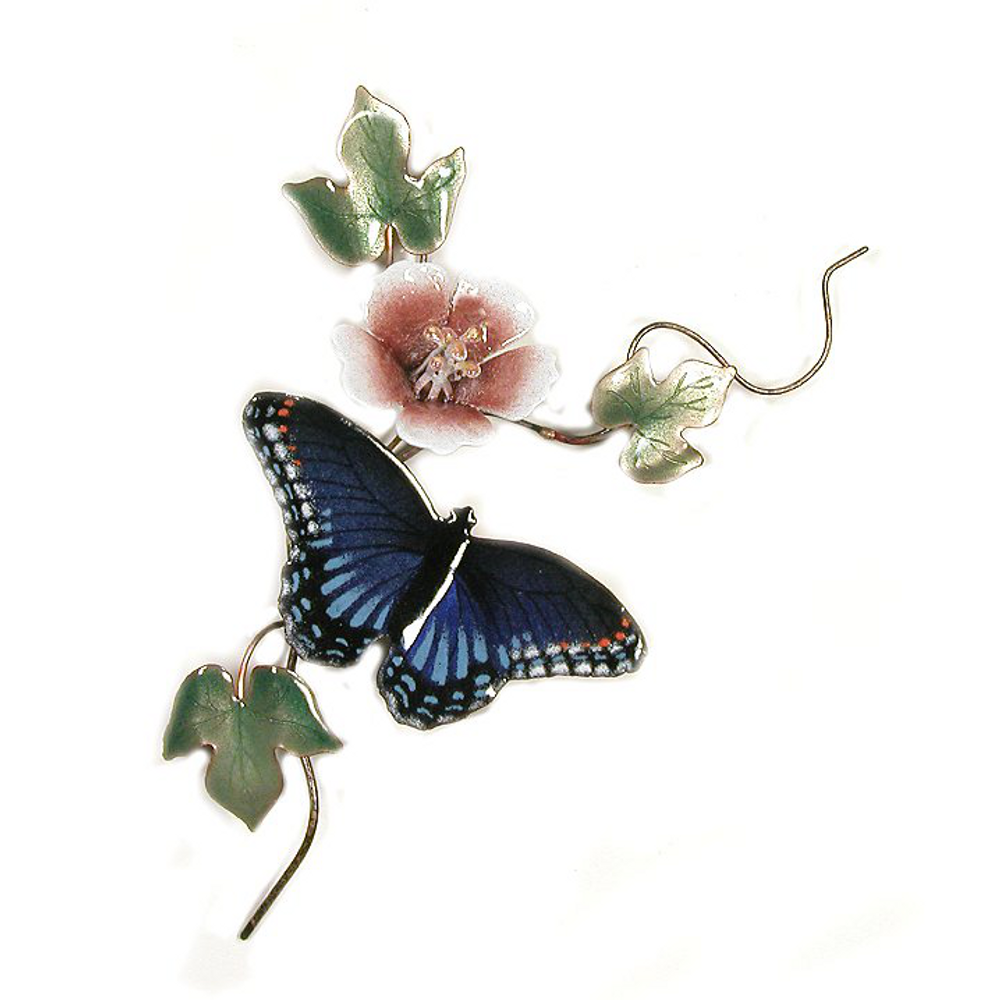 Bovano Red-Spotted Purple Butterfly Enameled Copper Wall Art | B82