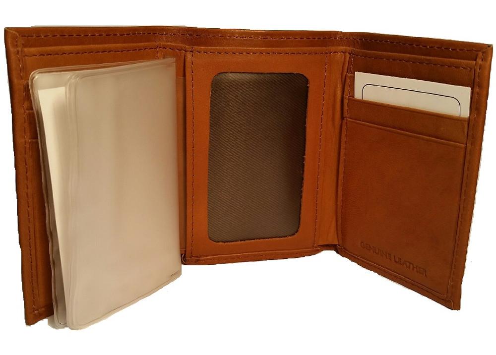 Deer Standing Tan Leather Men's Trifold Wallet -2