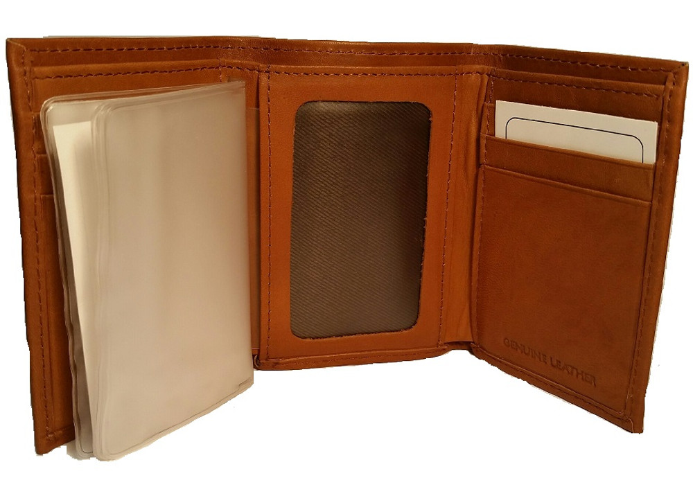 Deer Standing Tan Leather Men's Trifold Wallet -2