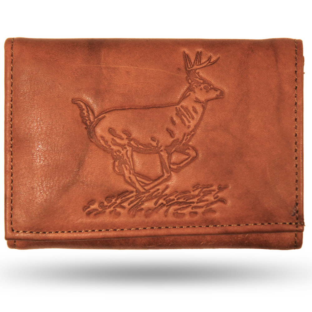 Deer Standing Tan Leather Men's Trifold Wallet