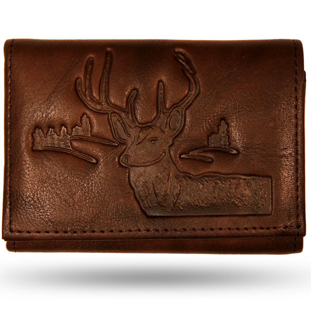 Deer Head Men's Leather Trifold Brown Wallet