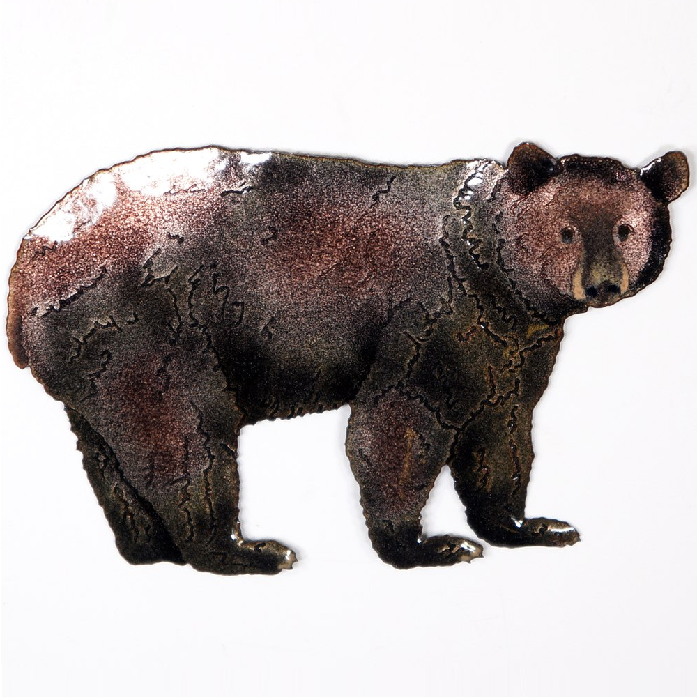 Bovano Black Bear Enameled Copper Wall Art   W8097