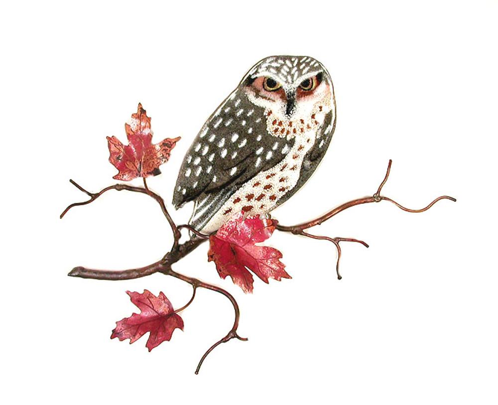 Bovano Owl on Maple Leaf Branch Enameled Copper Wall Art | W8093