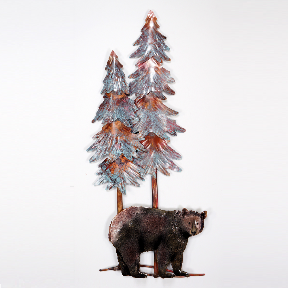 Bovano Black Bear with Trees Enameled Copper Wall Art   W8096