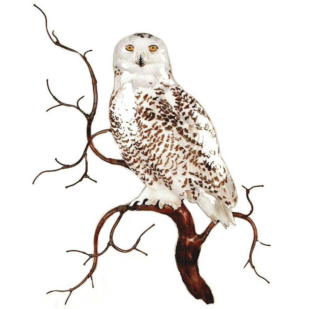 Bovano Snowy Owl on Branch Enameled Copper Wall Art | W8092